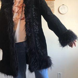Penny Lane Black Leather 70's Coat